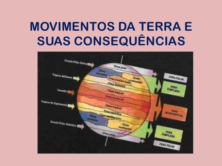 MOVIMENTOS DA TERRA E SUAS CONSEQUÊNCIAS<br />