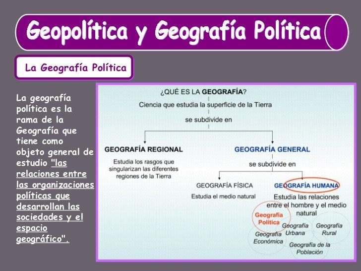 Geopolítica y Geografía Política La Geografía Política La geografía política es la rama de la Geografía que tiene como obj...