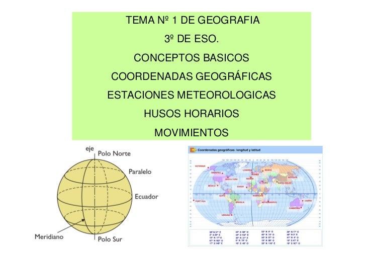 TEMA Nº 1 DE GEOGRAFIA        3º DE ESO.   CONCEPTOS BASICOSCOORDENADAS GEOGRÁFICASESTACIONES METEOROLOGICAS     HUSOS HOR...