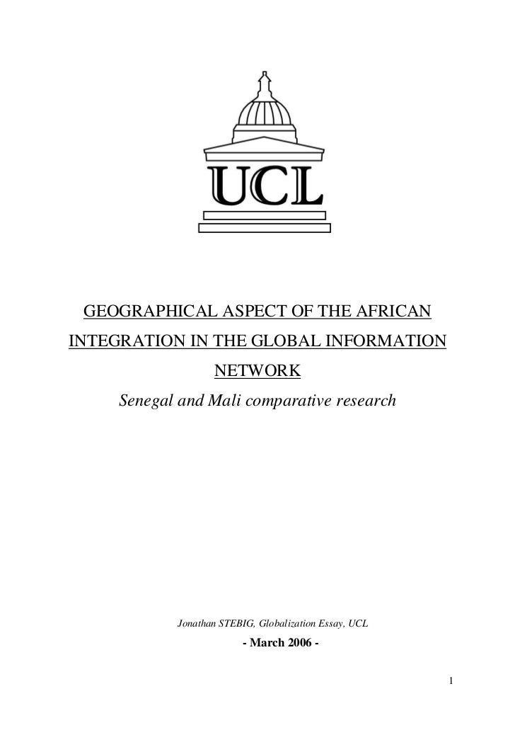 """""""Geographical aspect of the African integration in the global information network - Senegal and Mali comparative research"""", UCL, UTM2, 03.2006"""