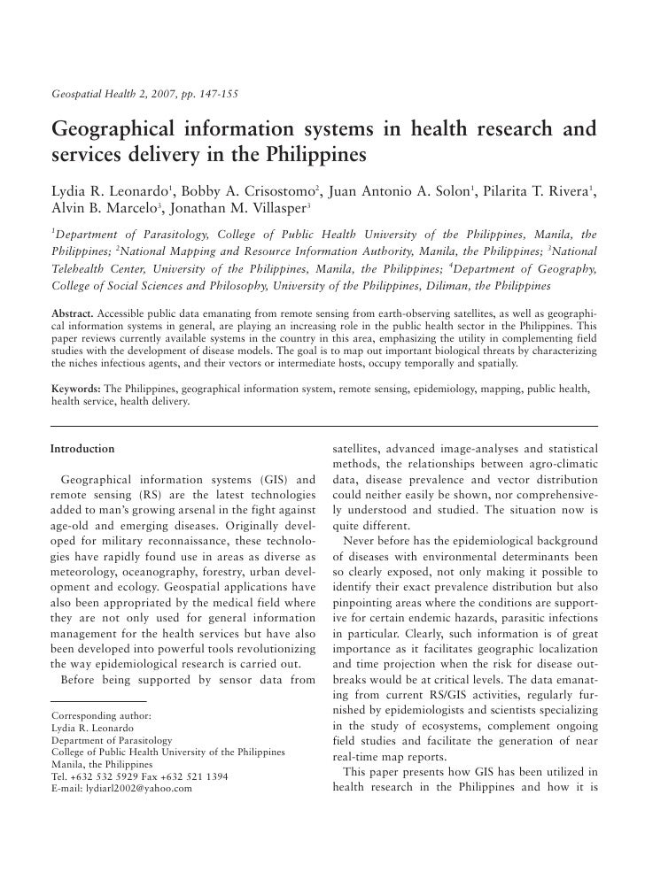 Geospatial Health 2, 2007, pp. 147-155Geographical information systems in health research andservices delivery in the Phil...