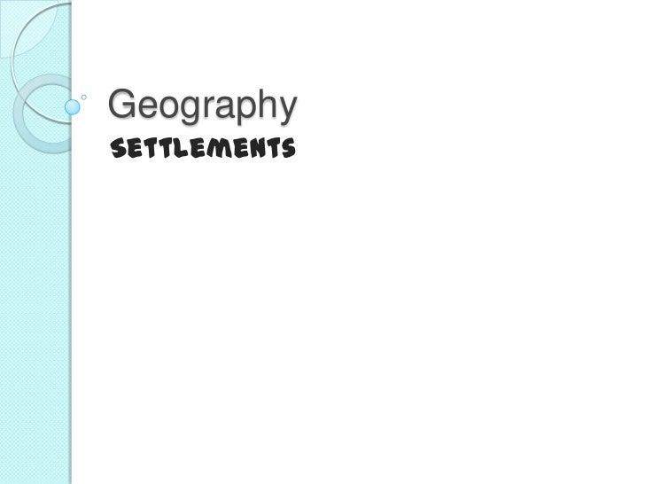 GeographySettlements