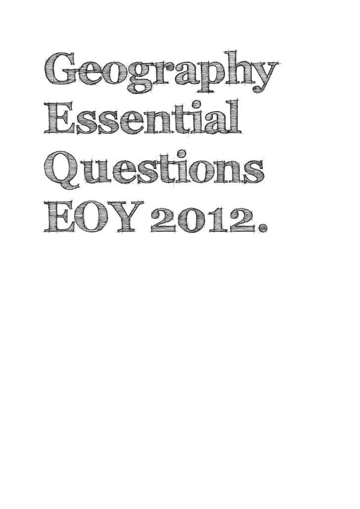 Geography essential questions eoy 2012 with answers
