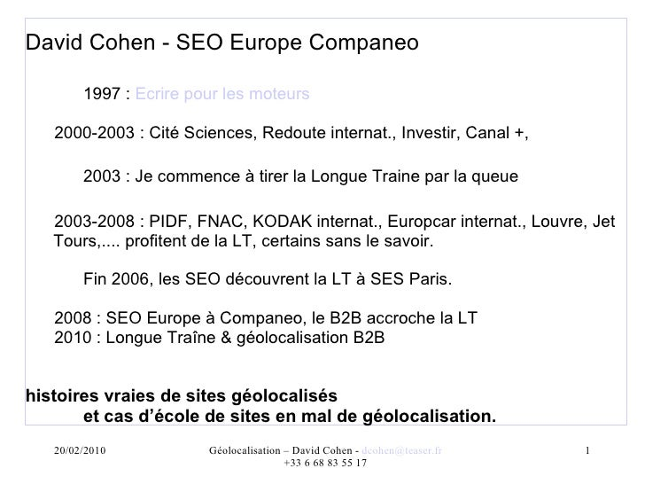 SEO et Recherche géolocalisée - David Cohen - SEO Campus 2010