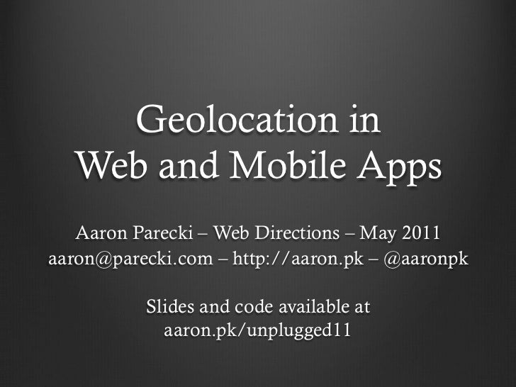 Geolocation in Web and Native Mobile Apps