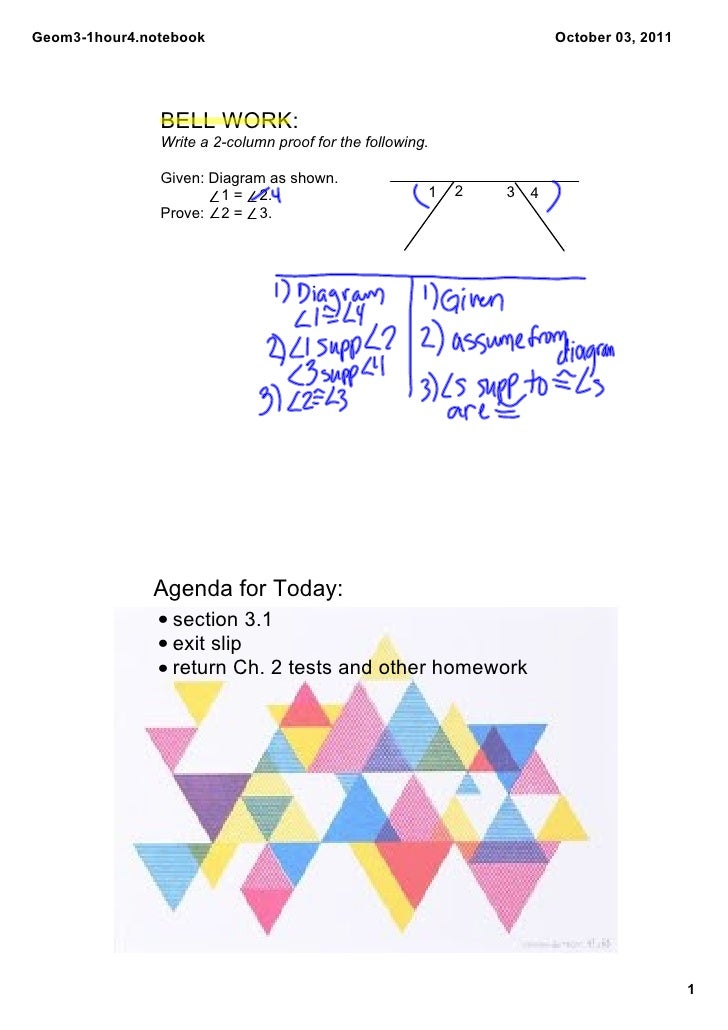 Geom3­1hour4.notebook                                                  October 03, 2011               BELL WORK:          ...
