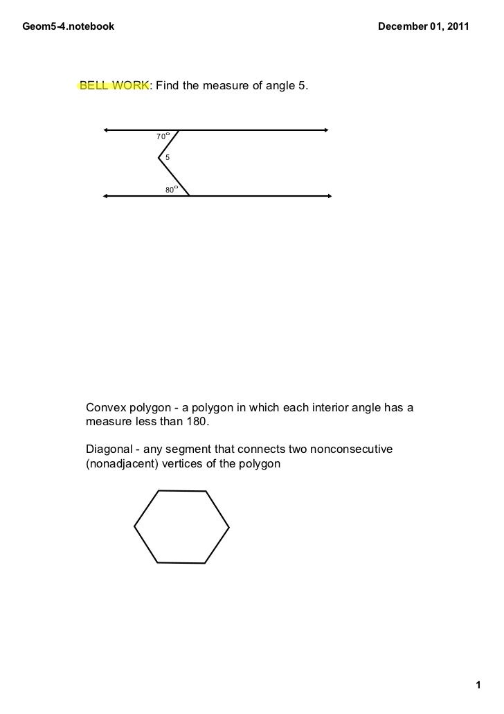 Geom54.notebook                                                 December01,2011         BELLWORK:Findthemeasureof...