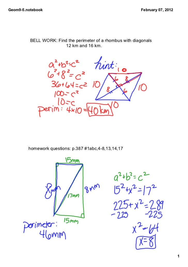 Geom9­5.notebook                                              February 07, 2012          BELL WORK: Find the perimeter of ...