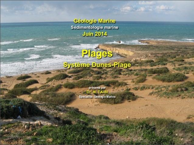 Géologie Marine Sédimentologie marine Juin 2014 présenté par Dr. N. TAIBI Spécialité: Géologie Marine Plages Système Dunes...