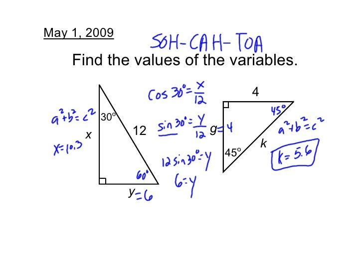 May1,2009      Findthevaluesofthevariables.                                  4           30o                       ...