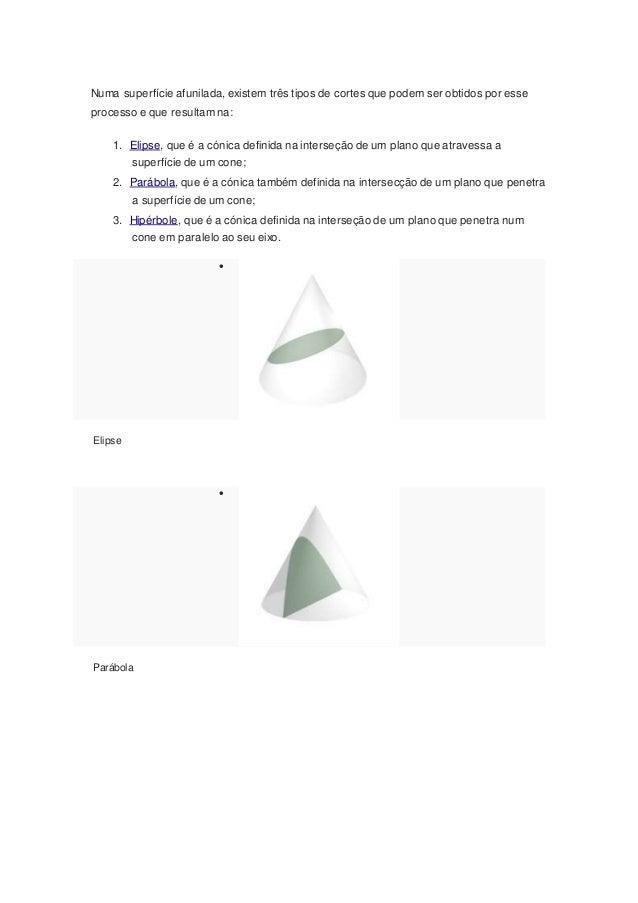 Numa superfície afunilada, existem três tipos de cortes que podem ser obtidos por esse processo e que resultam na: 1. Elip...