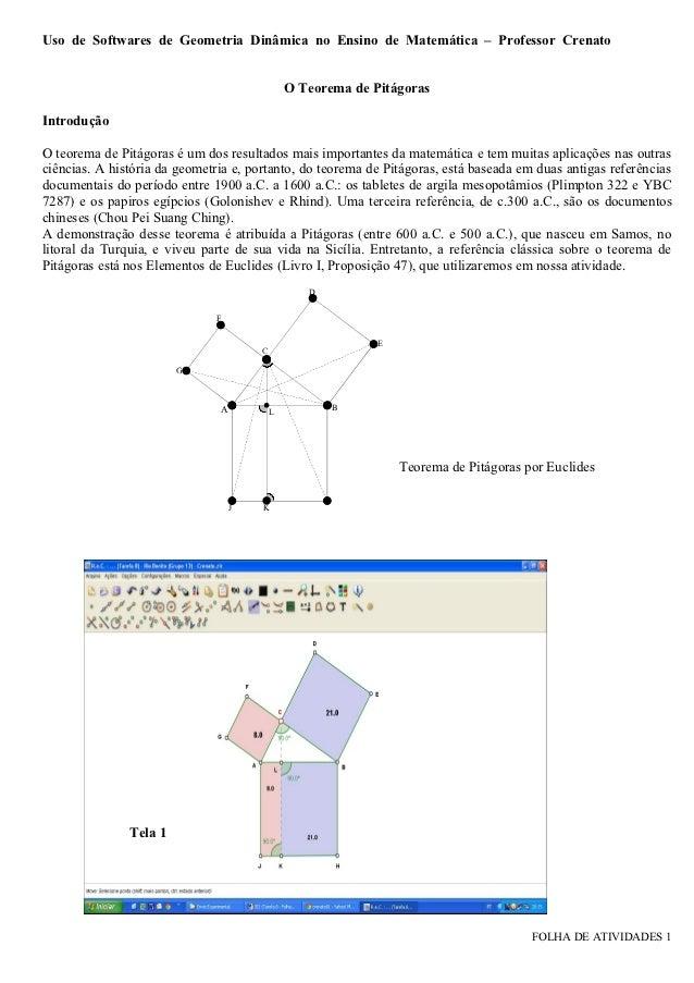 Uso de Softwares de Geometria Dinâmica no Ensino de Matemática – Professor Crenato                                        ...