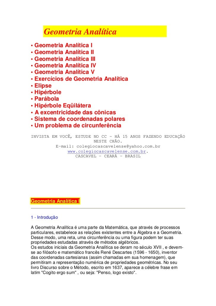 Geometria Analítica• Geometria Analítica I• Geometria Analítica II• Geometria Analítica III• Geometria Analítica IV• Geome...