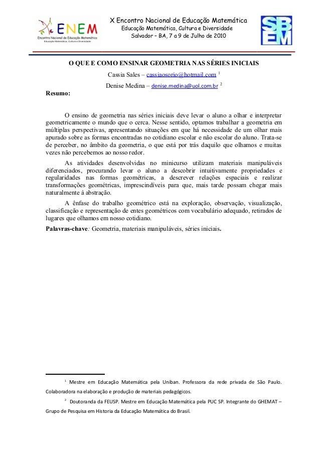 X Encontro Nacional de Educação Matemática                                Educação Matemática, Cultura e Diversidade      ...
