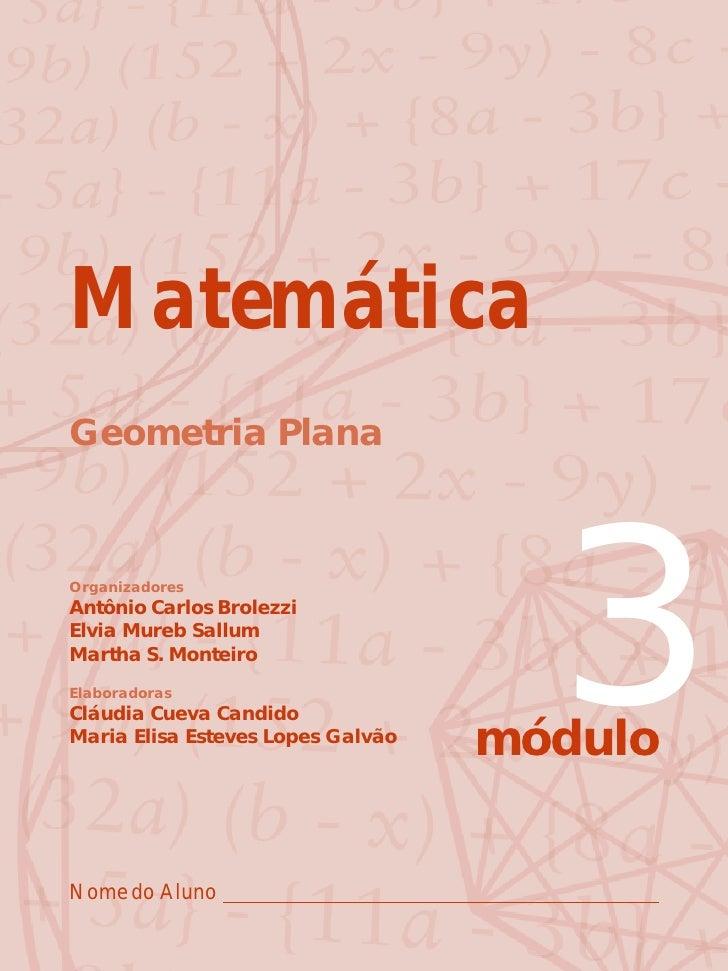 Matemática Geometria Plana    Organizadores Antônio Carlos Brolezzi Elvia Mureb Sallum Martha S. Monteiro Elaboradoras Clá...