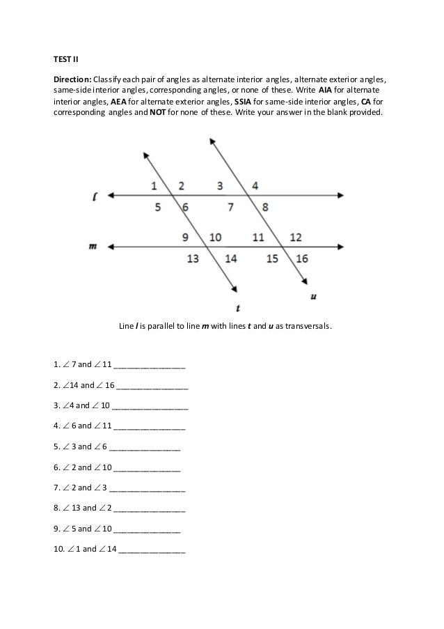 Corresponding Angles And Sides Corresponding Angles