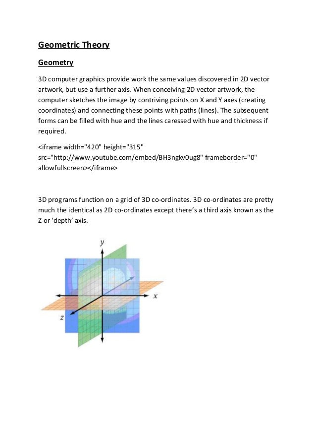 Geometric TheoryGeometry3D computer graphics provide work the same values discovered in 2D vectorartwork, but use a furthe...