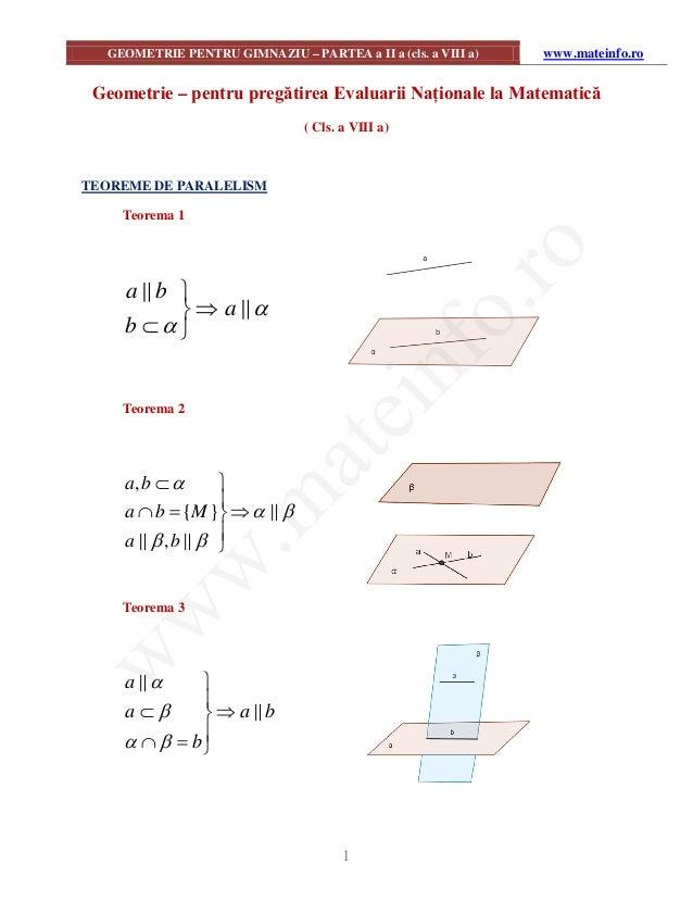 GEOMETRIE PENTRU GIMNAZIU – PARTEA a II a (cls. a VIII a)  www.mateinfo.ro  Geometrie – pentru pregătirea Evaluarii Națion...