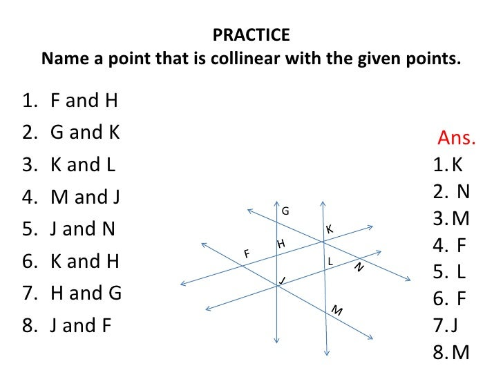 GEOMETRY: POINTS, LINES. PLANES Three Collinear Points