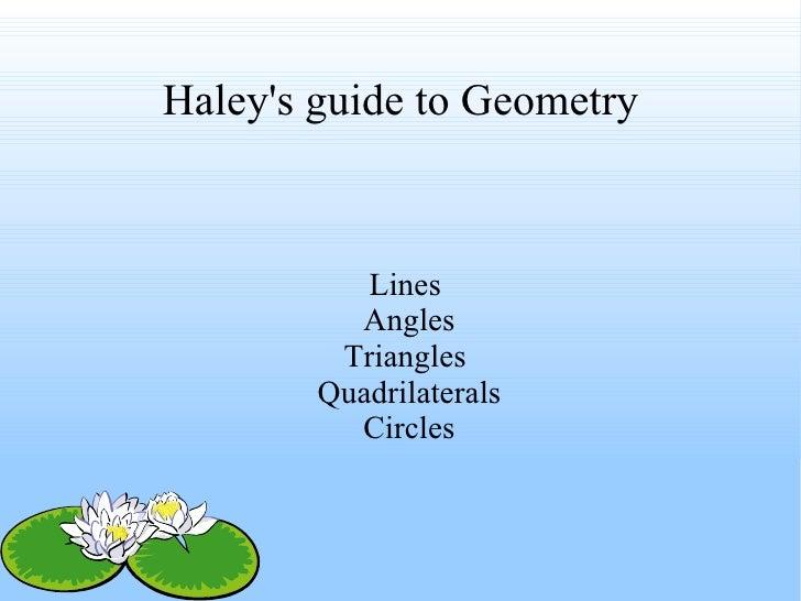 Haley's guide to Geometry <ul><ul><li>Lines  </li></ul></ul><ul><ul><li>Angles </li></ul></ul><ul><ul><li>Triangles  </li>...