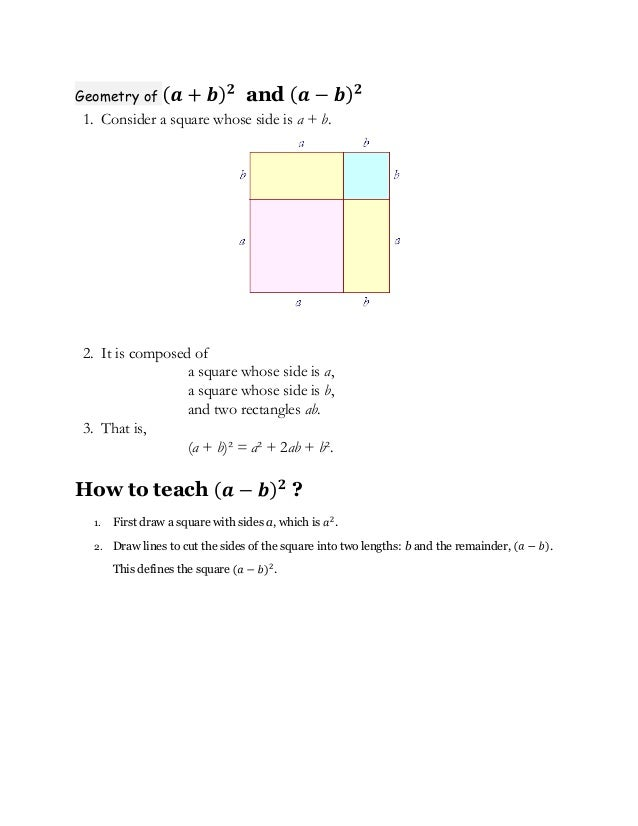 Geometry of                      and1. Consider a square whose side is a + b.2. It is composed of                 a square...