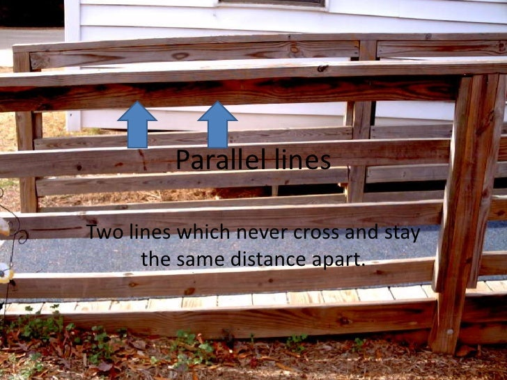 Parallel lines<br />Two lines which never cross and stay the same distance apart.<br />