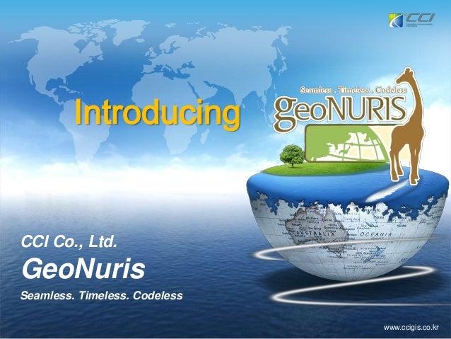 www.ccigis.co.krCCI Co., Ltd.GeoNurisSeamless. Timeless. CodelessIntroducing