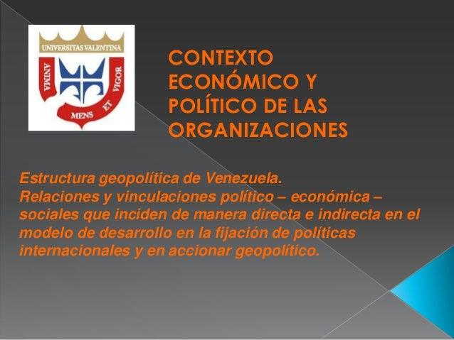 CONTEXTO ECONÓMICO Y POLÍTICO DE LAS ORGANIZACIONES Estructura geopolítica de Venezuela. Relaciones y vinculaciones políti...