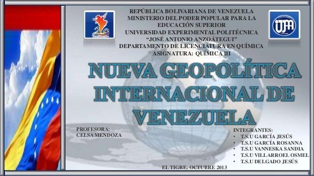 REPÚBLICA BOLIVARIANA DE VENEZUELA MINISTERIO DEL PODER POPULAR PARA LA EDUCACIÓN SUPERIOR UNIVERSIDAD EXPERIMENTAL POLITÉ...