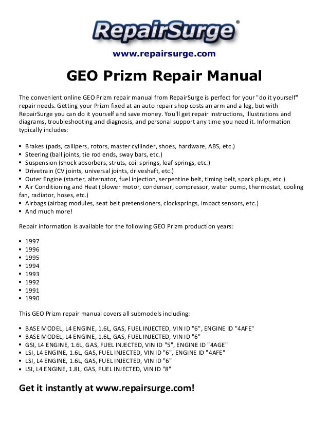 2001 chevy tracker service manual