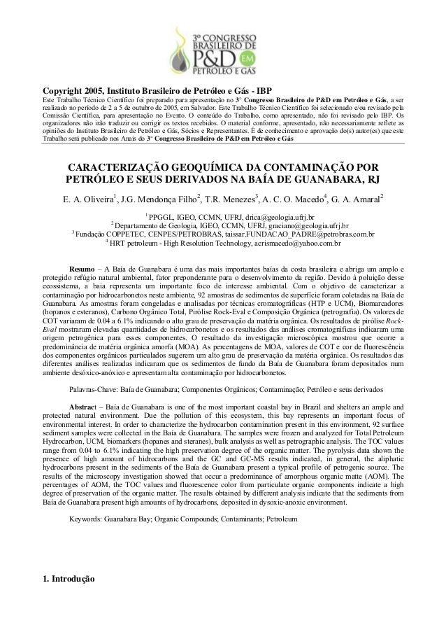 Copyright 2005, Instituto Brasileiro de Petróleo e Gás - IBPEste Trabalho Técnico Científico foi preparado para apresentaç...