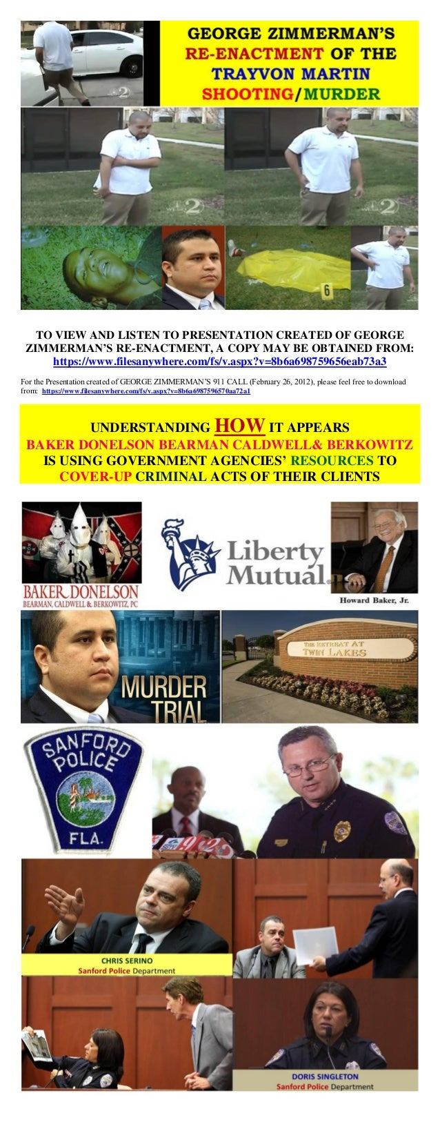 TO VIEW AND LISTEN TO PRESENTATION CREATED OF GEORGE ZIMMERMAN'S RE-ENACTMENT, A COPY MAY BE OBTAINED FROM: https://www.fi...