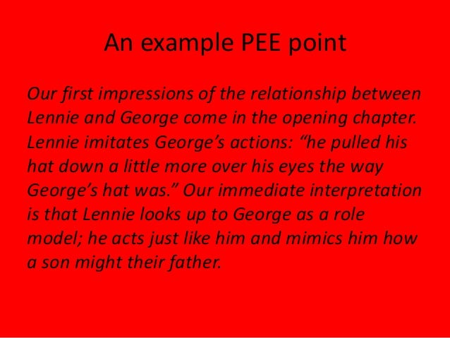 first impressions of george and lennie A summary of section 1 in john steinbeck's of mice and men steinbeck also solidly establishes the relationship between george and lennie within the first few.