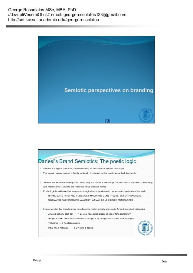 George rossolatos seminar on branding, brand equity, brand semiotic models and research methods part 5
