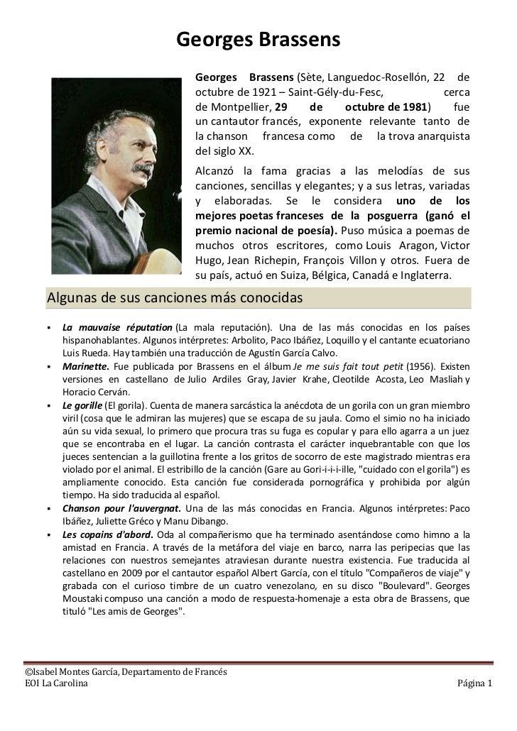 Georges Brassens                                          Georges Brassens (Sète, Languedoc-Rosellón, 22 de               ...
