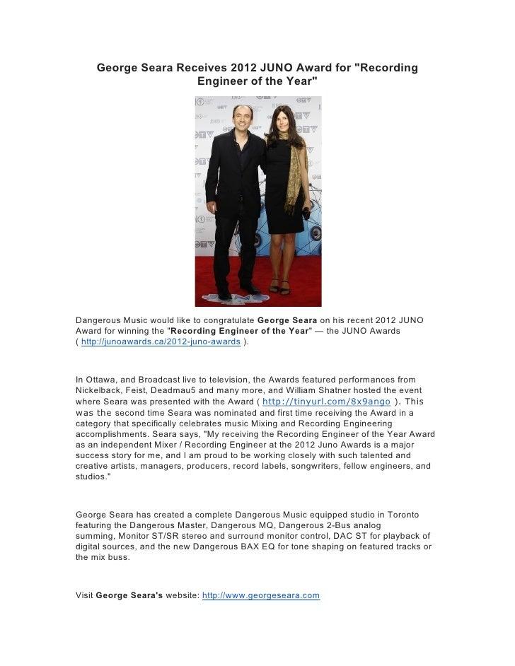 George Seara Receives 2012 Juno Award