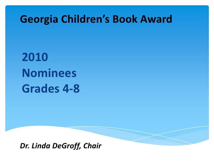 Georgia Childrens Book Award Nominees 20102011
