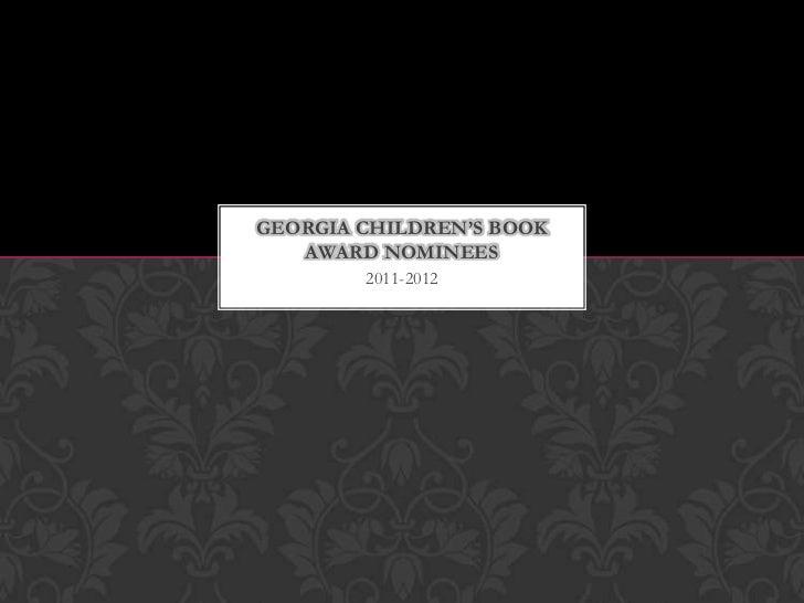 Georgia children's book award nominees 2011 2012