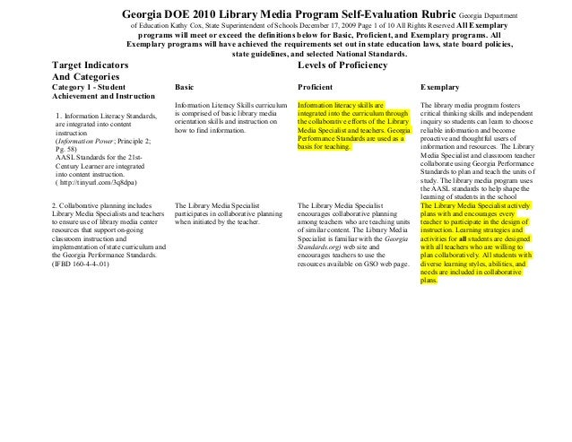 Georgia DOE 2010 Library Media Program Self-Evaluation Rubric Georgia Department of Education Kathy Cox, State Superintend...