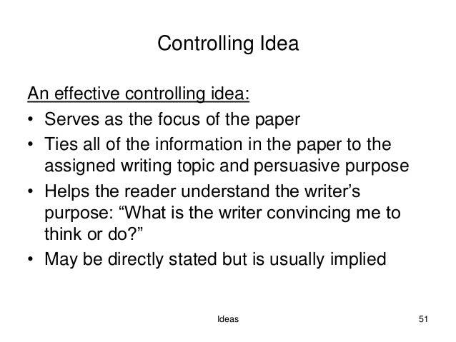 Controlling idea essay