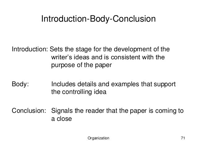 introduction thesis body and conclusion This resource outlines the generally accepted structure for introductions, body paragraphs, and conclusions in an academic argument paper your goal is to create a compelling, clear, and convincing essay people will want to read and act upon state your thesis/claim –compose a sentence or two stating the position you.