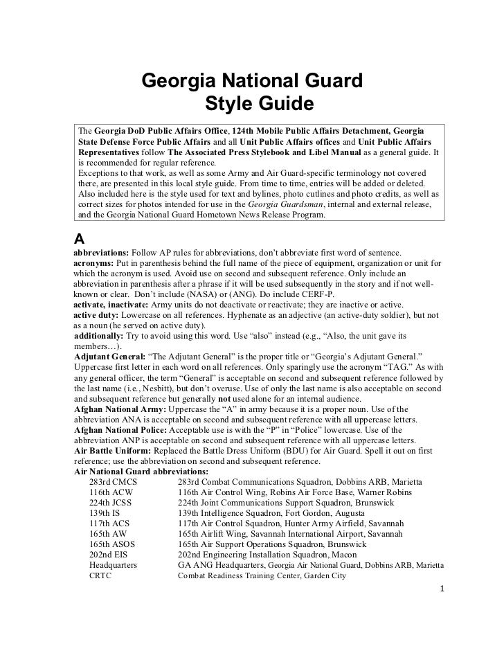 Georgia National Guard Style Guide