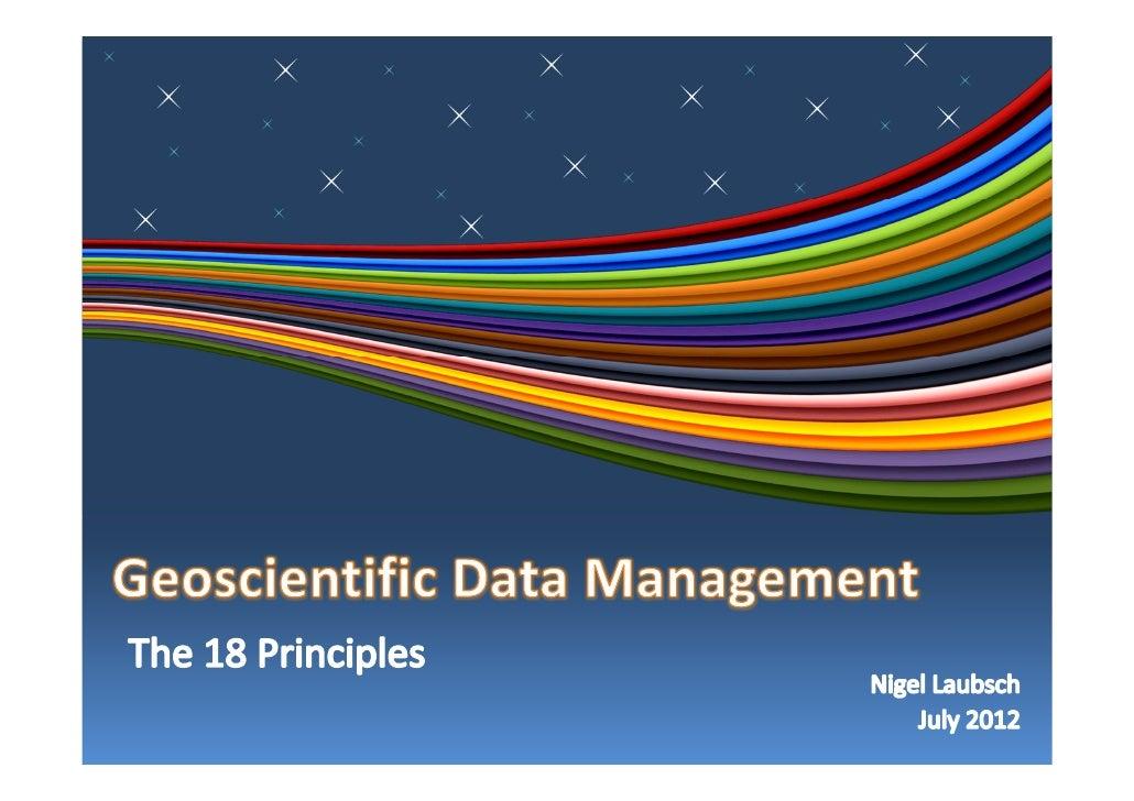 Geoscientific Data Management Principles