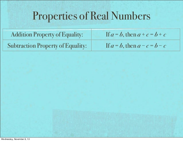 Property of Equality Geometry Property of Equality if a