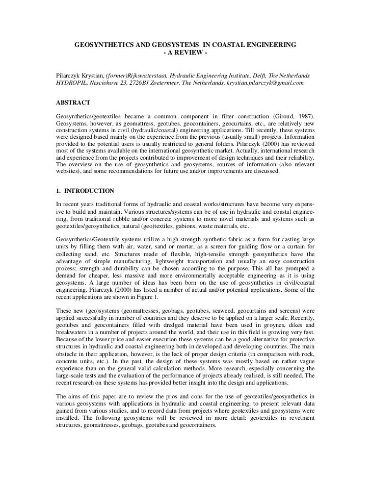 Geosynthetics&Geosystems In Coastal Engineering Pilarczyk2009