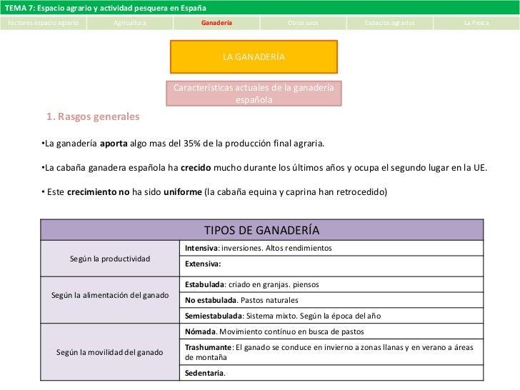 Tema 7. Espacio agrario y actividad pesquera en España (II). Ganadería. Explotación forestal. Paisajes agrarios. La Pesca
