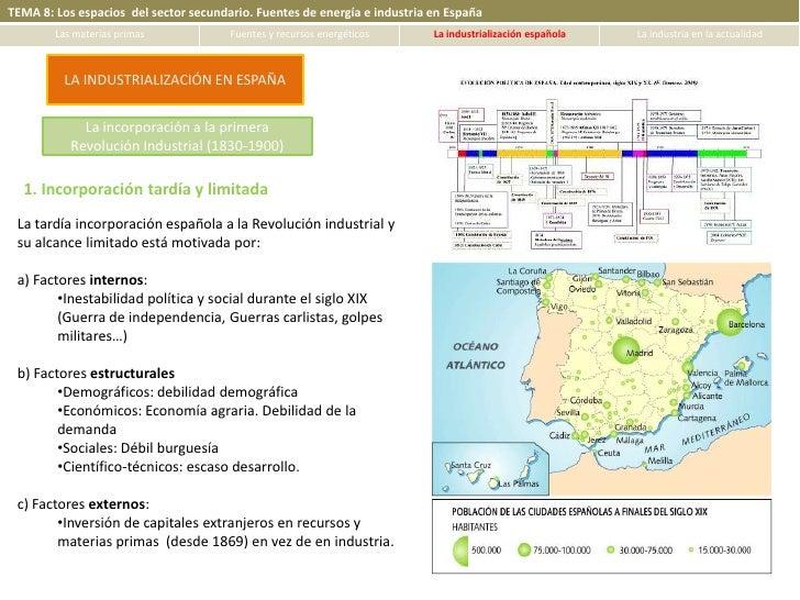 TEMA 8: Los espacios del sector secundario. Fuentes de energía e industria en España        Las materias primas           ...