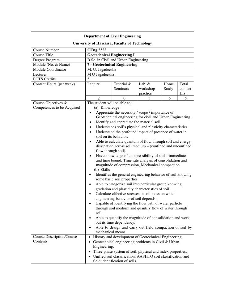 Department of Civil Engineering                       University of Hawassa, Faculty of Technology Course Number          ...