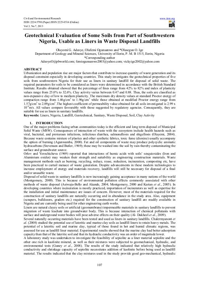 Civil and Environmental Research www.iiste.org ISSN 2224-5790 (Paper) ISSN 2225-0514 (Online) Vol.3, No.7, 2013 107 Geotec...
