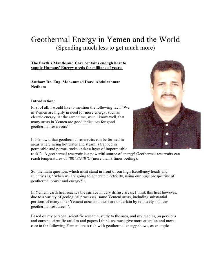 Geothermal Energy in Yemen and the World                 (Spending much less to get much more)  The Earth's Mantle and Cor...